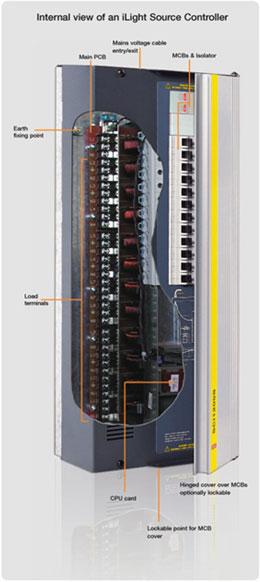"""调光控制柜上有""""报警输入""""端子,用于""""应急照明状态输入""""或由其它"""